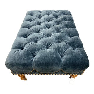 Velvet Tufted Navy Blue Ottoman on Casters W/ Nailhead and Cording Detail For Sale