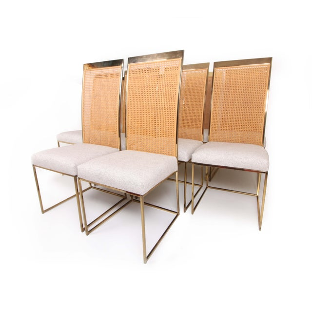 Hollywood Regency Late 20th Century High Back Brass & Caned Dining Chairs by Milo Baughman for Thayer Coggin- Set of 10 For Sale - Image 3 of 13