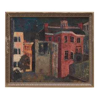 Midcentury Abstract Cityscape Painting Architectural Night Scene For Sale