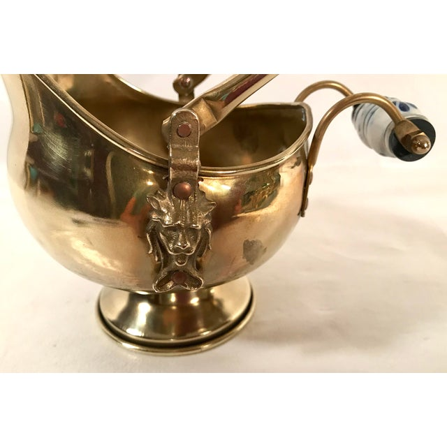 Vintage Irish Brass and Flo Blue Coal Shuttle For Sale In Dallas - Image 6 of 10