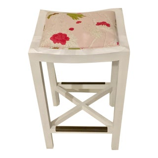 Lee Industries White Maple & Pink Floral Fabric Bar Stool For Sale