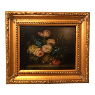 1980s Flower Still Life Oil on Canvas Painting For Sale
