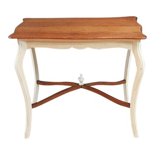 Vintage Shabby Chic Louis XV Style Side Table on Cabriole Legs For Sale