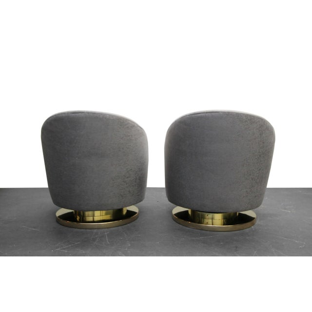Mid Century Swivel Slipper Chairs with Brass Bases by Milo Baughman for Thayer Coggin - a Pair - Image 5 of 7