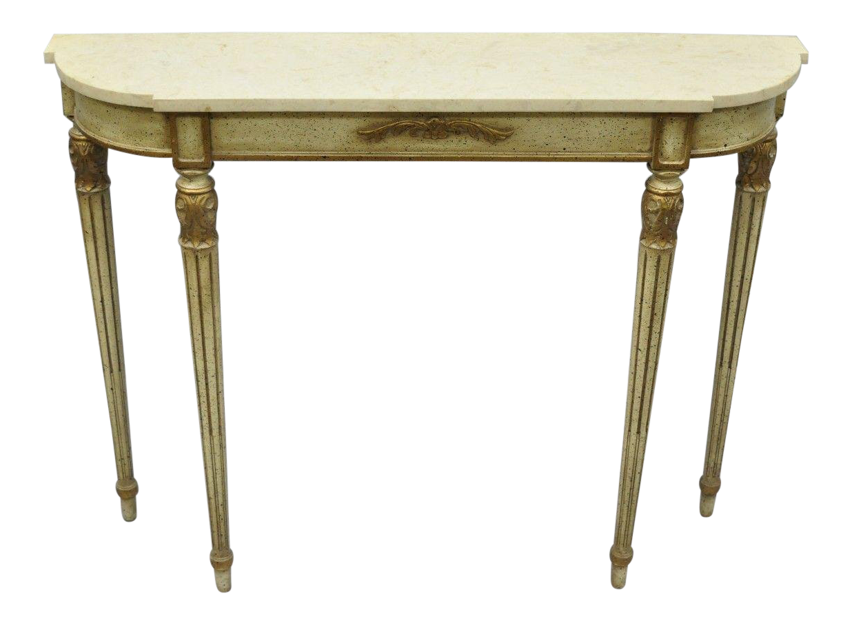 Exceptional Mid 20th Century French Louis XVI Style Marble Top Narrow Shallow Console Hall  Table