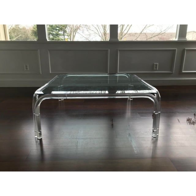 Glass Vintage Mid Century Modern Lucite and Glass Dorothy Thorpe Style Square Coffee Table For Sale - Image 7 of 12
