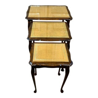 Vintage Leather Top Walnut and Glass Nesting Tables- Set of 3 For Sale