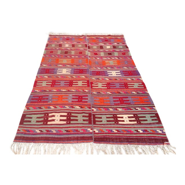 Vintage Turkish Kilim Rug - 5′1″ × 8′8″ For Sale
