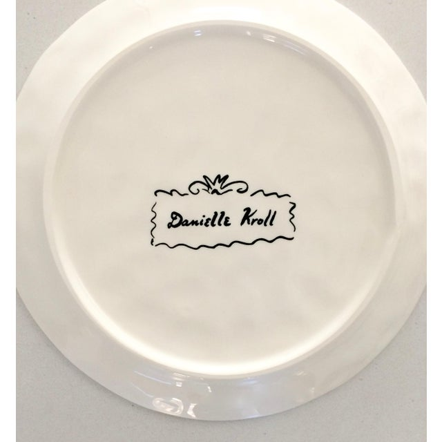 "Boho Chic Danielle Kroll ""Sardine"" Pictorial Dessert Plates - A Pair For Sale - Image 3 of 4"