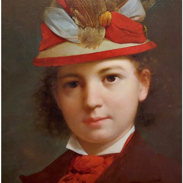 Stephen William Shaw -19th C. Portrait of a Fashionable Young Girl W/A Feather Hat-Oil Painting For Sale - Image 9 of 11