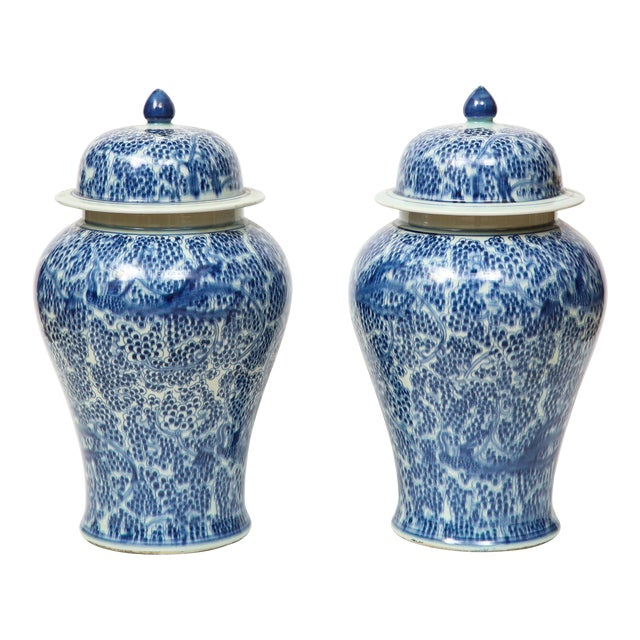 Chinese Blue and White Jars with Lids - A Pair For Sale