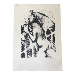 Vintage Black and White Male Female Nude Etching For Sale