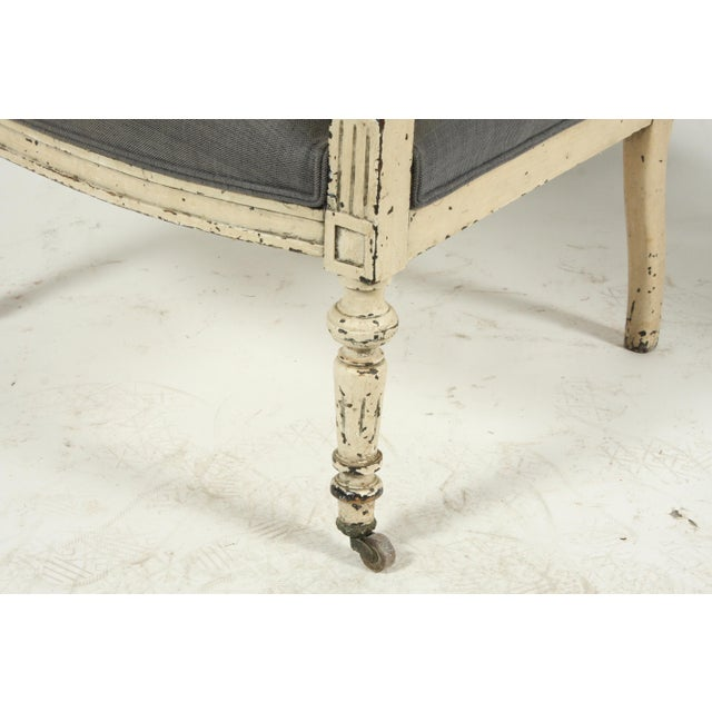 Blue Late 19th-C. French Louis XVI-Style Armchairs, Pair For Sale - Image 8 of 13