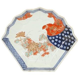 Imari Fan Shaped Porcelain Plate, Meiji Period For Sale