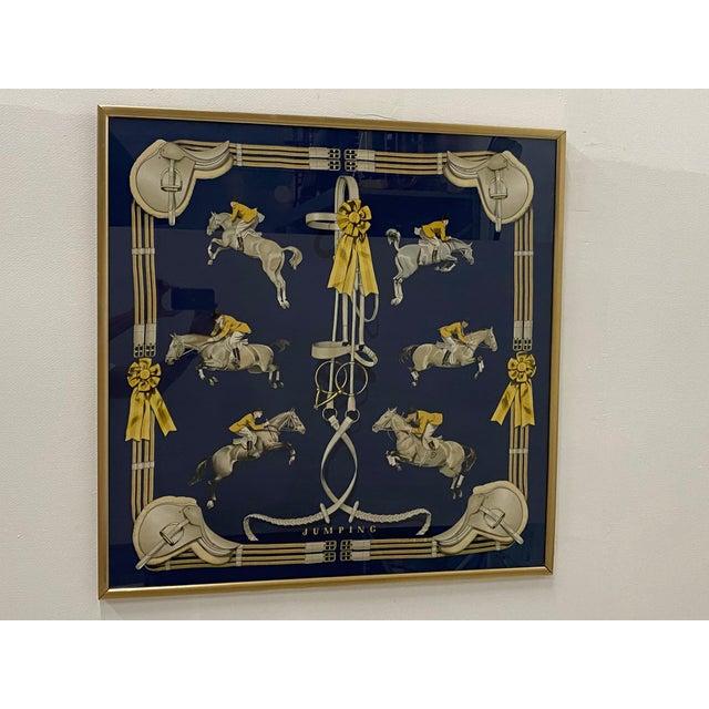 Framed Vintage Hermes Scarf in Navy Blue and Gold For Sale - Image 4 of 9