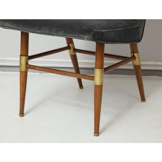Set of Six Italian Mid-Century Modern Dining Chairs, Recently Upholstered For Sale In New York - Image 6 of 11