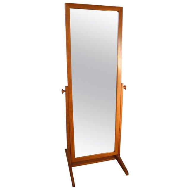 Vintage Danish Modern Teak Full Length Floor Mirror by Pedersen & Hansen For Sale - Image 12 of 13
