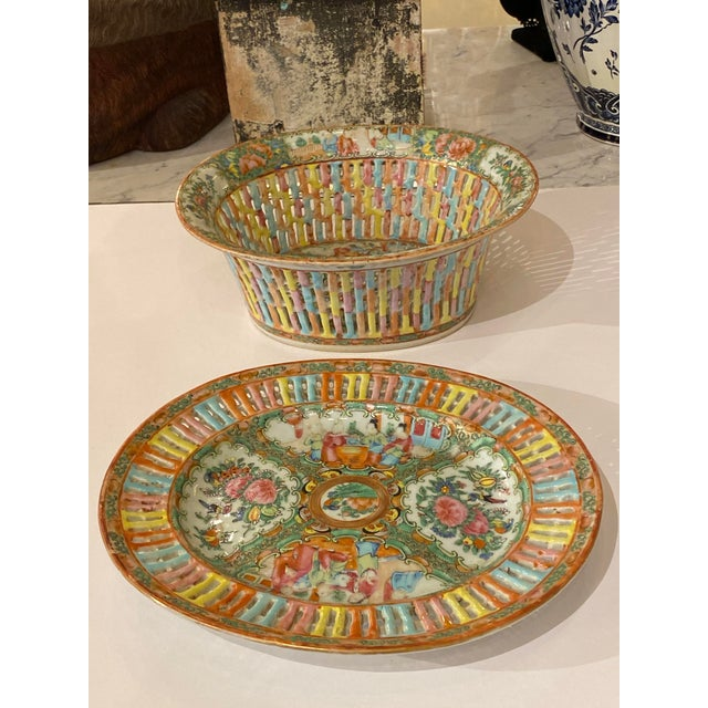 Rose Medallion Pierced Bowl and Under Plate For Sale - Image 11 of 13