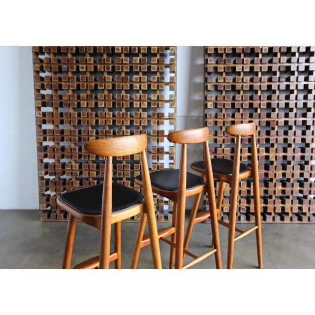 Vilhelm Wohlert for Stolefabriken Odense Danish Stools- Set of 3 For Sale In Los Angeles - Image 6 of 13