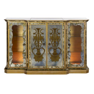French Art Deco Smoked Mirror Bar Server Console Sideboard, C. 1940s For Sale