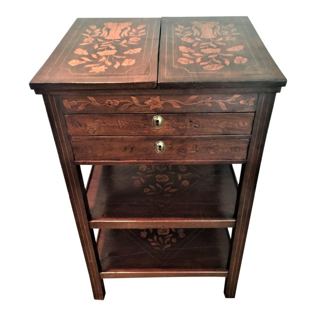Antique Marquetry Inlaid Dressing Table For Sale