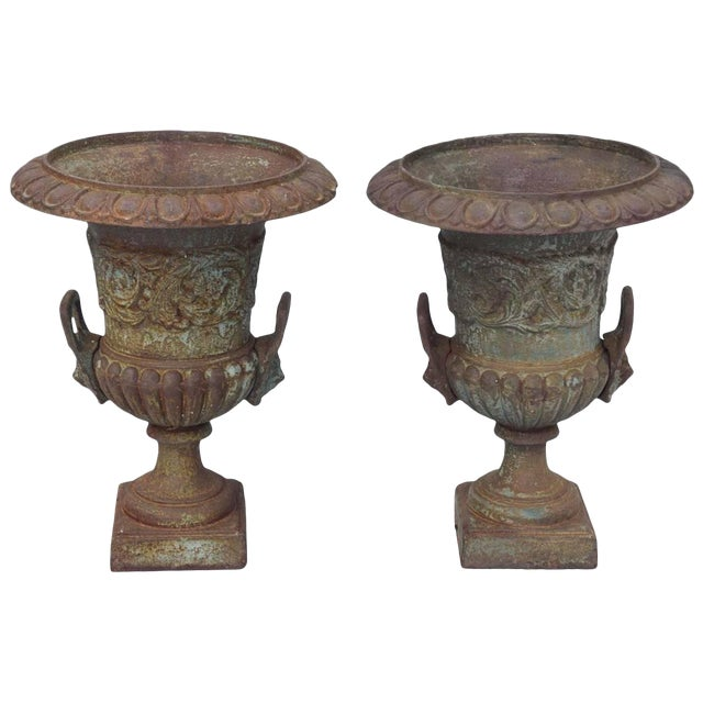 Pair of 19th Century French Iron Garden Urns For Sale