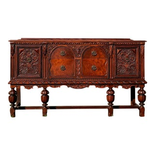 1800s Antique Spanish Renaissance Revival Carved Sideboard For Sale