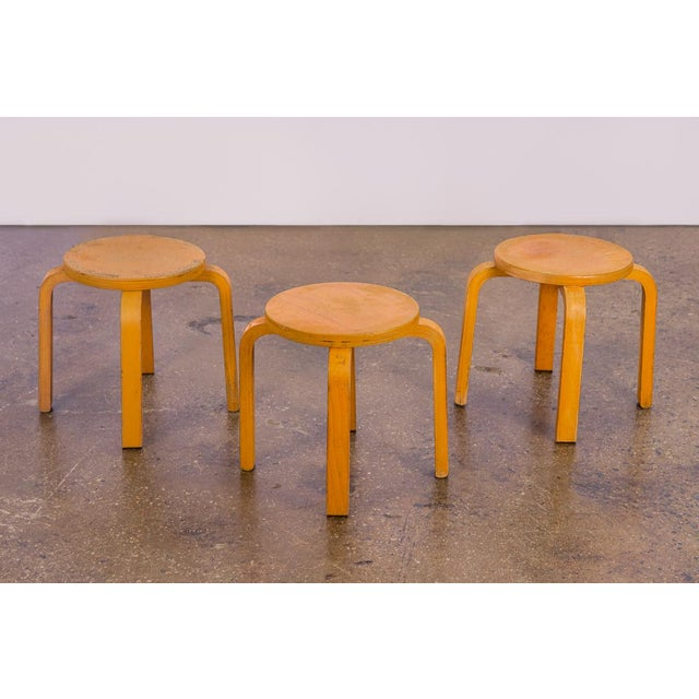 Mid-Century Modern 1960s Alvar Aalto Style Small Stacking Stools - Set of 3 For Sale - Image 3 of 9