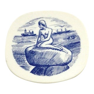 Vintage Scandinavian Plate of the Copenhagen Mermaid C.1950
