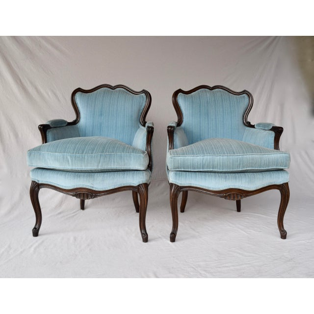 Wood Pair of French Provincial Berger'e Chairs For Sale - Image 7 of 12