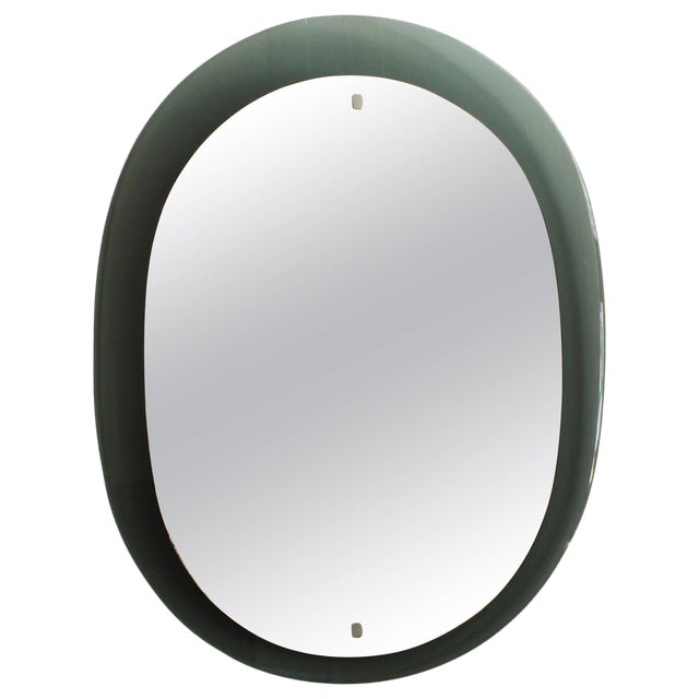 1960´s Gray Green Italian Mirror, chrome-plated brass hardware - Italy For Sale