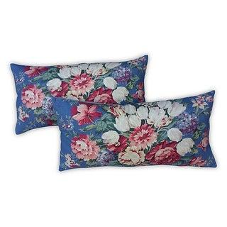 Ralph Lauren Shabby Chic Floral Fabric Pillows - Pair