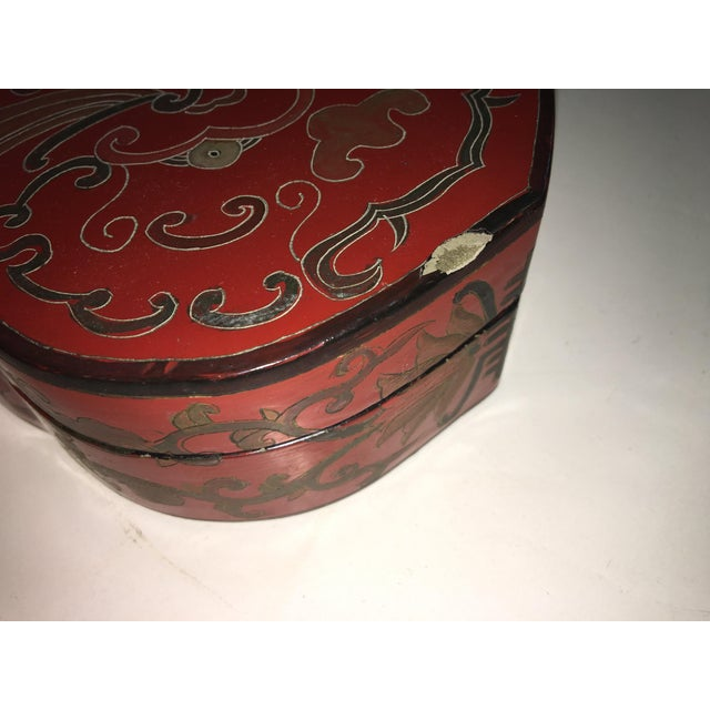 Asian Vintage Shields Shaped Chinese Red Lacquer Box For Sale - Image 3 of 6