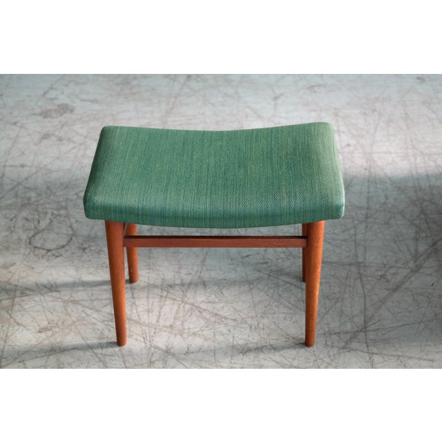Metal Danish 1950's Green Easy Chair With Footstool by Jacob Kjaer For Sale - Image 7 of 12