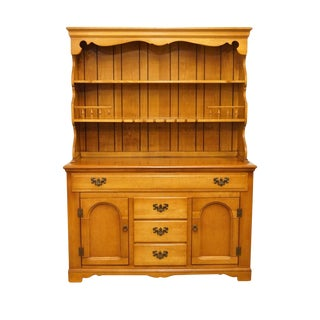 "Empire Furniture Colonial Style Solid Hard Rock Maple 54"" Buffet & Hutch For Sale"