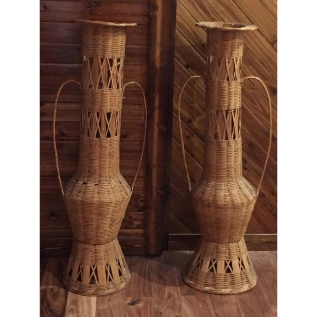 Decorative Wicker Floor Vases A Pair Chairish