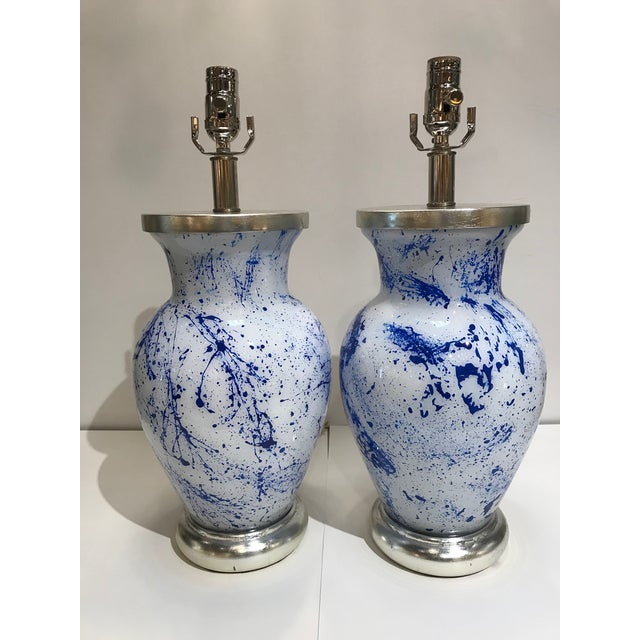 Liz Marsh Liz Marsh Designs Blue Spatter Eglomise Lamps - a Pair For Sale - Image 4 of 4
