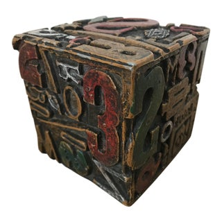 "Mid Century Modern Sheldon Rose ""Alphasculpt"" Cube Brutalist Sculpture"