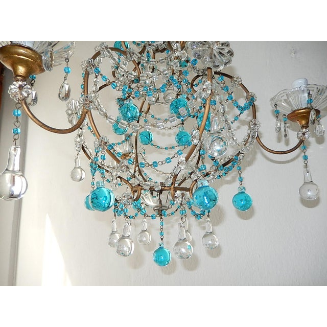 1920s French Blue & Clear Murano Drops Crystal Giltwood Chandelier For Sale - Image 12 of 13
