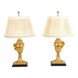 Louis XVI Style Doré Bronze Table Lamps - a Pair For Sale