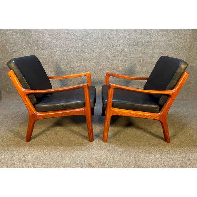 """France and Son Pair of Vintage Danish Mid Century Modern Teak and Leather """"Senator"""" Lounge Chairs by Ole Wanscher For Sale - Image 4 of 12"""