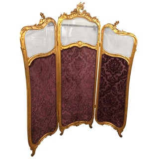 19th Century Louis Xv, Giltwood Three Fold Screen With Original Glass Panels For Sale