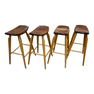 Set of 4 Mixed Wood Barstools For Sale