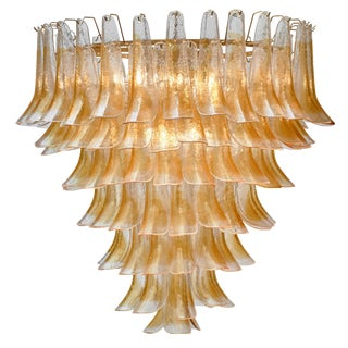 "Murano Orange and Clear Glass ""Selle"" Chandelier For Sale"