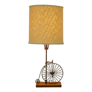 Mid-Century Modern Fantoni Brutalist Brass Bicycle Table Lamp Italian 1960s For Sale