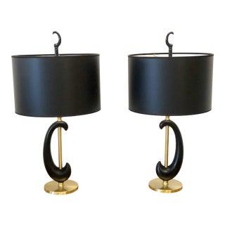 Vintage Black Enamel and Brass Lamps For Sale