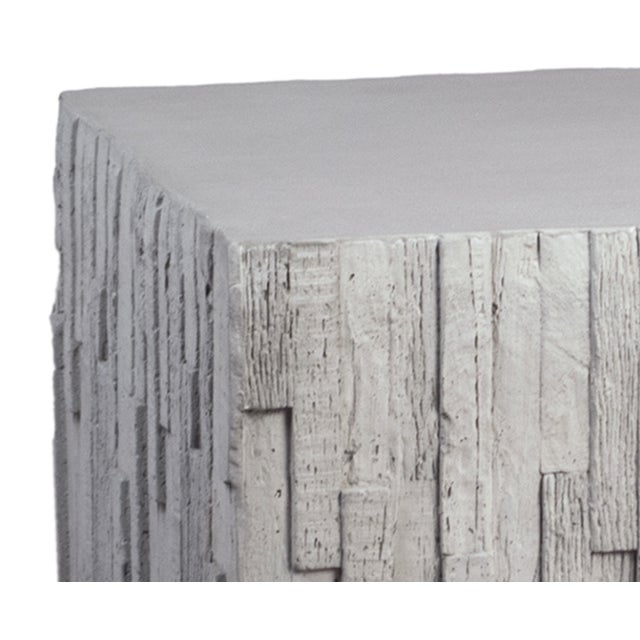 Modern square block outdoor coffee or accent table made of lightweight reinforced and sealed concrete. Unique textured...