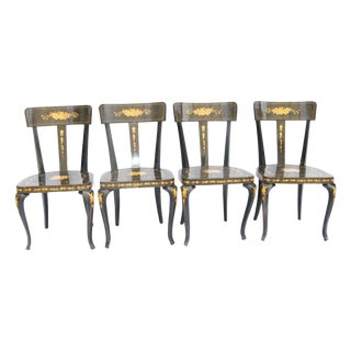 1960s Vintage Biedermeier Style Inlaid Dining Chairs- Set of 4 For Sale