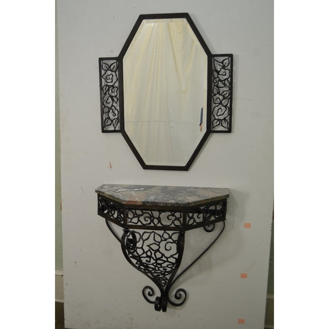 STORE ITEM #: 15456 Art Deco Oscar Bach Style Iron Marble Top Wall Console w/ Mirror AGE/COUNTRY OF ORIGIN – Approx 90...