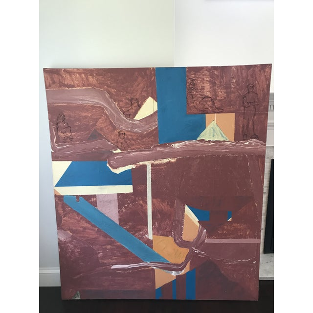 Mid Century Modern Large Original Abstract Oil Painting on Canvas For Sale - Image 11 of 11